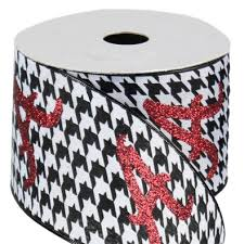 alabama ribbon white houndstooth wired ribbon