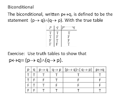 Pq Truth Table Logic 2 The Conditional And Biconditional Ppt Download