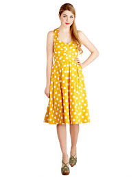 retro yellow sleeveless polka dot 50s hepburn style vintage