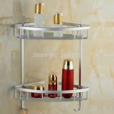 Bathroom Basket Storage Aluminium Dual Tier Bathroom Basket Corner Shelf Rack Hook For