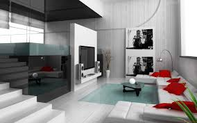 living room elegant colors with red sofa and small chrome lamp