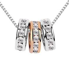 crystal ring necklace images Micheal kors inspired triple ring pendant beautiful mother 39 s jpg