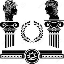 greek columns and human heads vector illustration royalty free