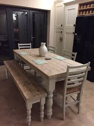 Dining Tables Farmhouse Kitchen Table Sets Industrial Reclaimed by Best 25 Farmhouse Table With Bench Ideas On Pinterest Farm