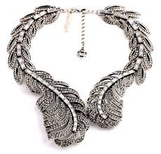 silver chunky fashion necklace images Antique silver rhinestone statement leaf chunky bib necklace jpg