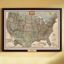 Us Map Political U S Political Map Earth Toned Poster Size And Framed With