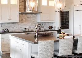 Brown Quartz Kitchen Countertop White Kitchen Cabinets Modern - White kitchen cabinets with white backsplash
