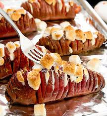 marshmallow stuffed hasselback sweet potatoes kirbie s cravings