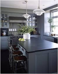 Kitchen Gray Cabinets Lighter Gray Cabinets U0026 Dark Soapstone Counters Diy And Designs