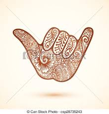 shaka surfers hand in indian henna tattoo style vector eps