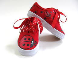 ladybug shoes hand painted red canvas sneakers ladybird or