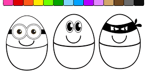 learn colors for kids and color this smiley face egg coloring page