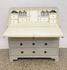 White Writing Desk With Hutch by Antique Swedish Period Slant Front White Writing Desk At 1stdibs