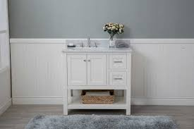 white shaker 36 bathroom vanity open shelf w marble top