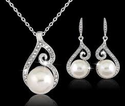 earring necklace sets images 2016 newest women crystal pearl pendant necklace earring jewelry jpg