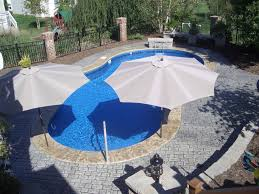 Patio Umbrellas Cheap by Swimming Pool Inground Swimming Pool With Extra Large Patio