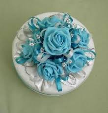 new gorgeous turquoise rose cake topper for 6ins cake wedding