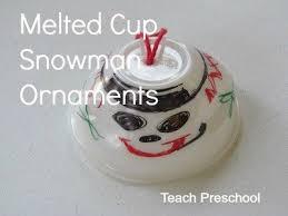 we made melted snowman ornaments in preschool teach preschool