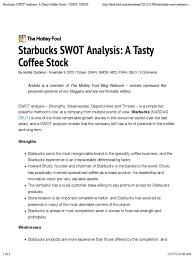 starbucks swot analysis starbucks brand