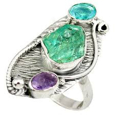 blue amethyst rings images Aquamarine and amethyst trio ring rough stone and gem jewelry jpg