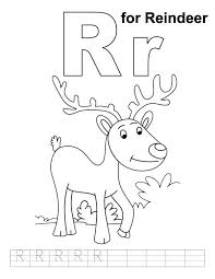 letter r is for reindeer coloring page bulk color