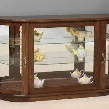 Curio Cabinets Shelves Fancy Convex Shape Kitchen Corner Curio Cabinet Features Brown