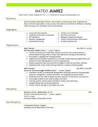 Sample Resume For Teaching Profession For Freshers by Resume Format For English Teachers In India