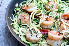 shrimp and scallop scampi with zucchini noodles cooking with books