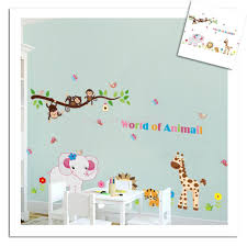 popular monkey kids room buy cheap lots from cute animals elephant monkey wall stickers kids room decorative diy cartoon kindergarten decals china