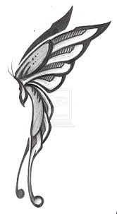 butterfly side view pencil and in color butterfly