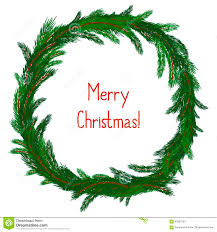 simple christmas wreath on white stock vector image 60052193