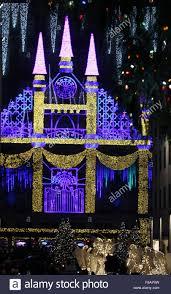 saks fifth avenue lights new york new york usa 07th dec 2015 christmas lights adorn the