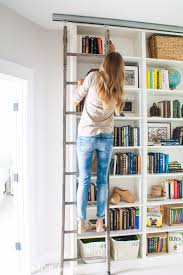Ikea Billy Bookshelves by Billy Bookcase Hack With Library Ladder Billy Bookcase Hack