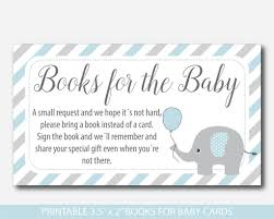 bring book instead of card to baby shower blue elephant bring a book instead of a card insert elephant baby