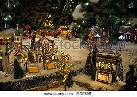 Christmas Town Decorations Miniature Christmas Village Toy Houses Decorations Stock Photo