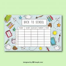 timetable template with objects vector free download