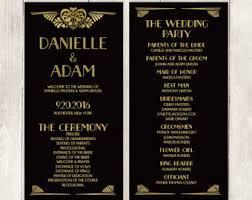 deco wedding program gatsby wedding etsy