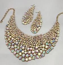 bib necklace crystal images Chunky rhinestone crystal bib necklace and earrings bridal evening jpg