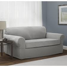 grey twill sofa slipcover maytex connor red tan grey spandex stretch 2 piece sofa slipcover
