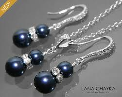 silver pearl necklace set images Navy blue pearl earrings and necklace set sterling silver cz pearl jpg