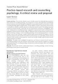 practice based research and counselling psychology a critical