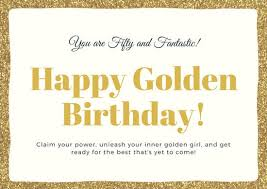 50th Birthday Cards For Gold Glitters 50th Birthday Card Templates By Canva