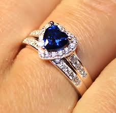 cheap heart rings images Sapphire heart promise ring with band blue cubic zirconia jpg