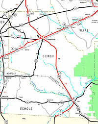 Okefenokee Swamp Map County Of Clinch Georgiainfo