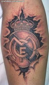 ripped skin 3d real madrid logo tattoo design made by grey ink