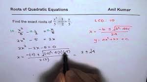 find exact roots of quadratic equation in fractions