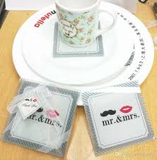 wedding souvenirs indian wedding favors glass coaster mr mrs placemats cup mat