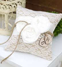wedding pillow rings lace and burlap wedding decor burlap lace wedding ceremon