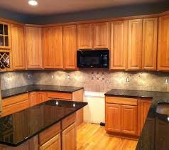 Tile Backsplash Granite Countertop  Oak Colored Cupboards - Kitchen backsplash ideas with dark oak cabinets