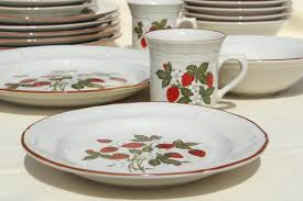 strawberry pattern 70s 80s vintage gibson stoneware dishes